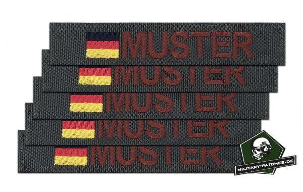 Namensband 1/3/5 Stück oliv/braun und Bundesflagge