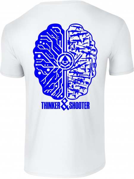 "Shirt ""THINKER & SHOOTER"" white"