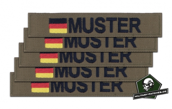 Namensband 1/3/5 Stück coyote/schwarz und Bundesflagge