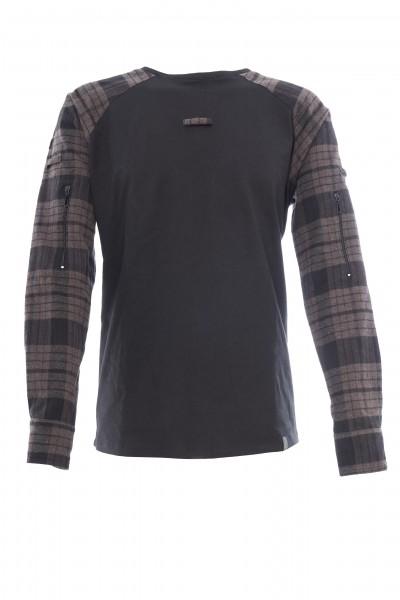 "Combatshirt ""FLANELL"", schwarz-grau"