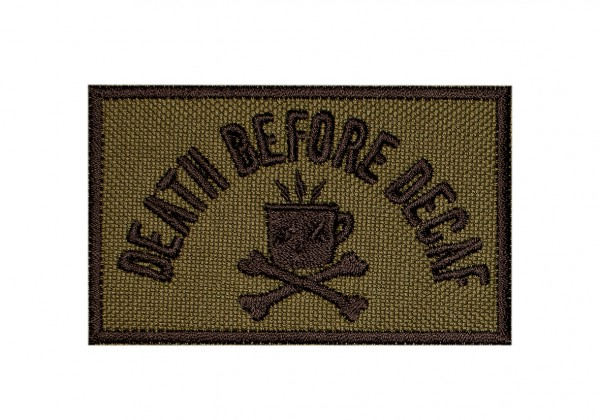 "Patch ""DEATH BEFORE DECAF"" (Cordura) oliv"