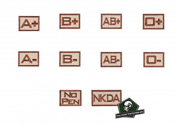 Blutgruppenkennzeichnung gestickt sand klein